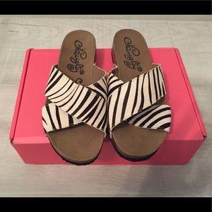 Naughty Monkey - Sandal Slides Zebra Print - NWOT